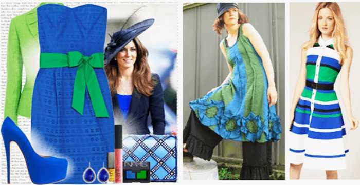 с чем носить синий и зеленый