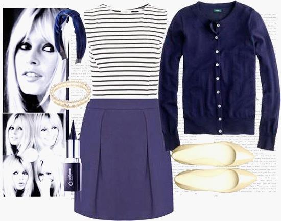 с чем носить синий юбка и полоска