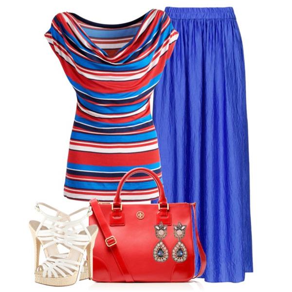 с чем носить синий юбка и топ в полоску