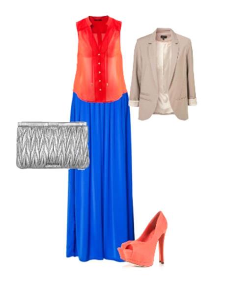 с чем носить синий юбку и блузу