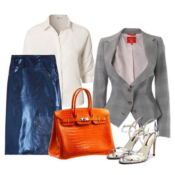с чем носить синюю юбку и серый пиджак