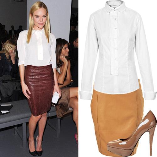 модные тенденции осени 2014 кожаная юбка карандаш