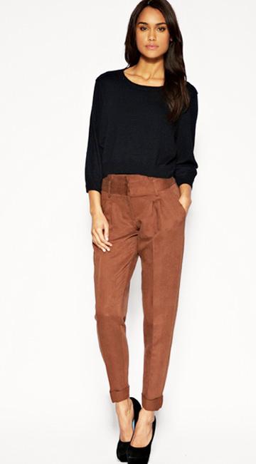 коричневые брюки дудочки