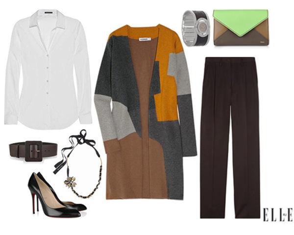 коричневые брюки с кардиганом