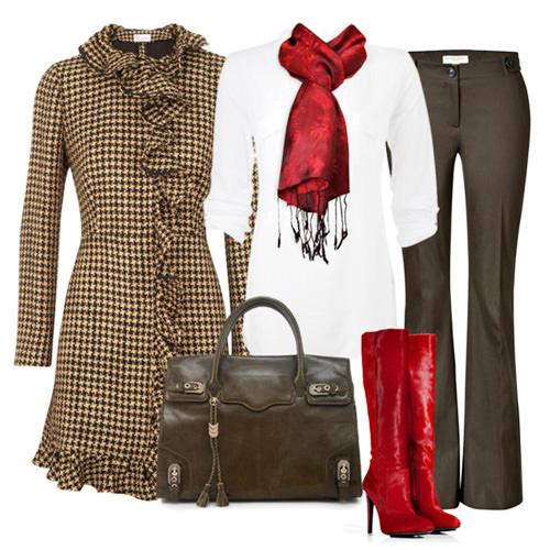 коричневые брюки с твидовым пальто