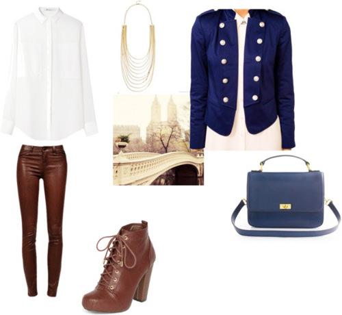 коричневые кожаные брюки с белой рубашкой