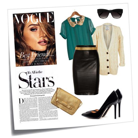кожаная юбка-карандаш с блузой и кардиганом