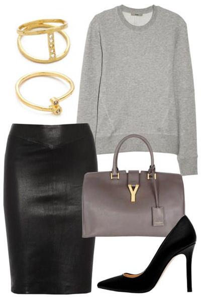 кожаная юбка-карандаш со свитером