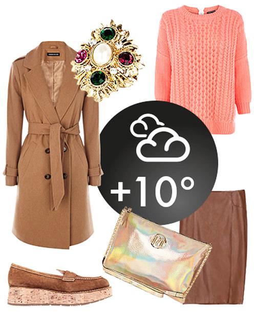 кожаная юбка-карандаш, свитер и пальто