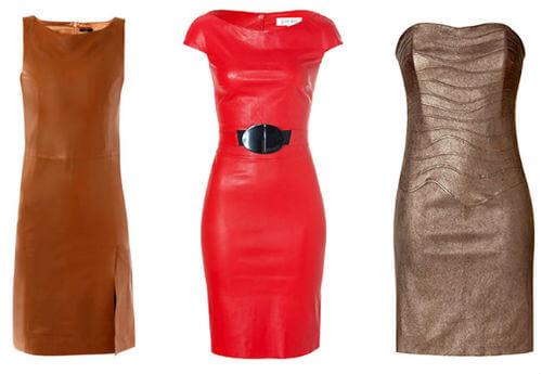 кожаные платья с поясом