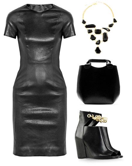 кожаное платье с аксессуарами