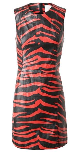 кожаное платье с принтом