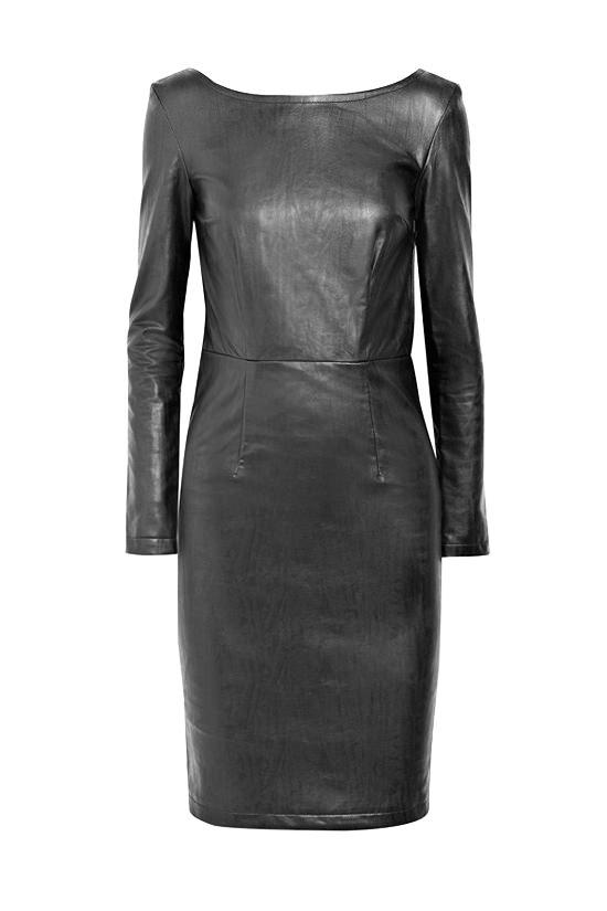 маленькое черное кожаное платье