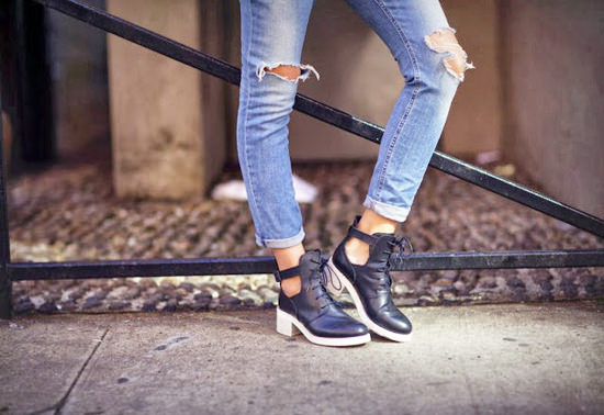 модная одежда 2014-2015 рваные джинсы