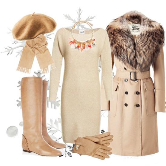 пальто песочного цвета с бежевым платьем и сапогами
