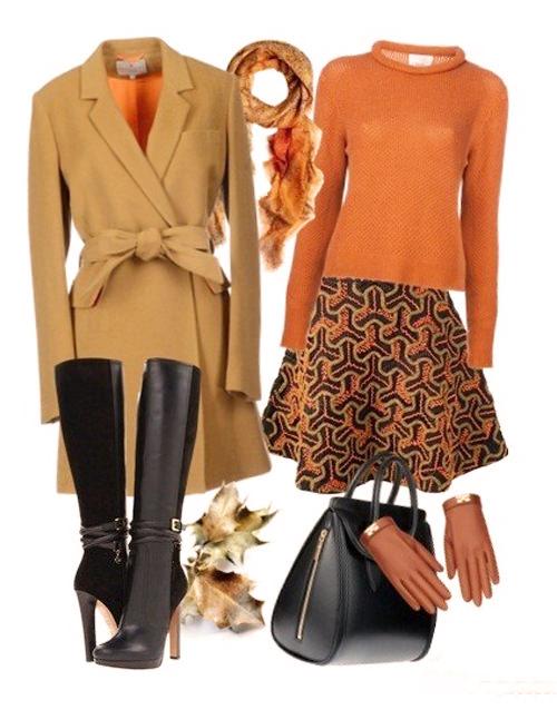 песочное пальто с оранжевым