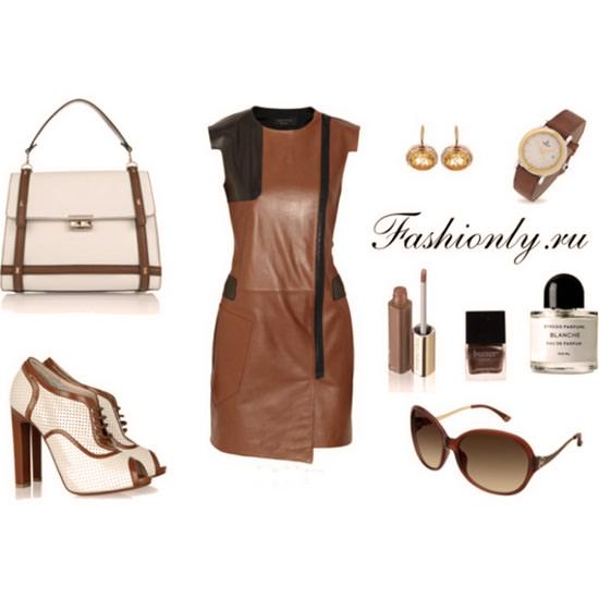 с чем носить коричневое кожаное платье