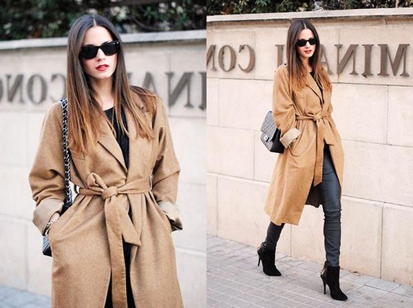 с чем носить пальто песочного цвета
