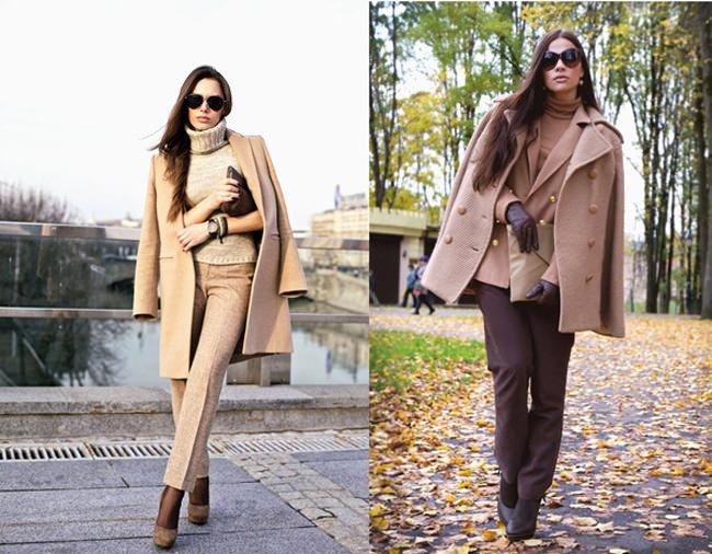 с чем носить песочное пальто 2014