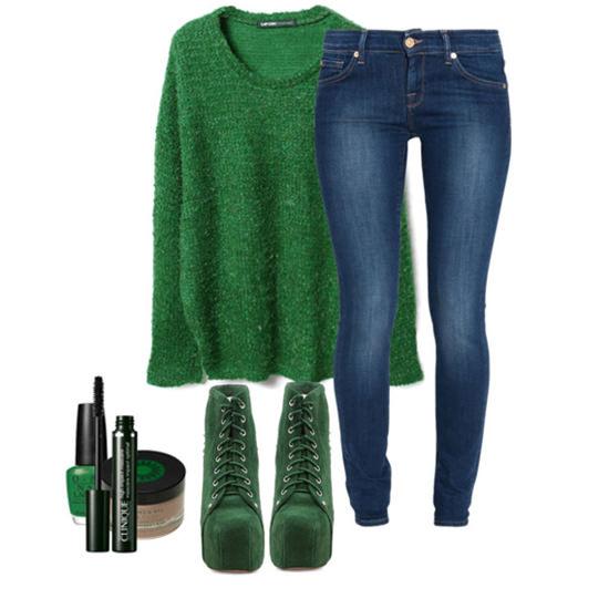 с чем носить зеленый