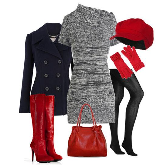 серый с красным и черным