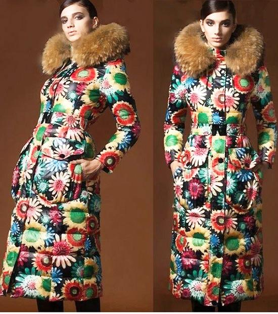 модные пуховики зима 2015 c принтом