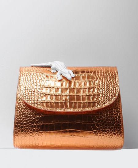 коричневая кожа рептилий на сумке