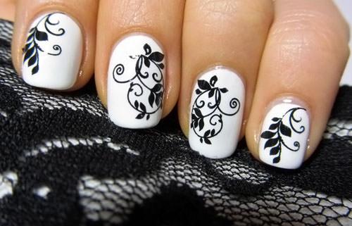 Черно белые рисунки на ногтях лаком