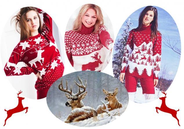 модные свитеры с оленями