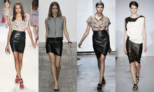 кожаные юбки с блузами