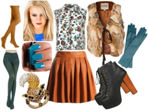 с чем носить кожаную юбку коричневую