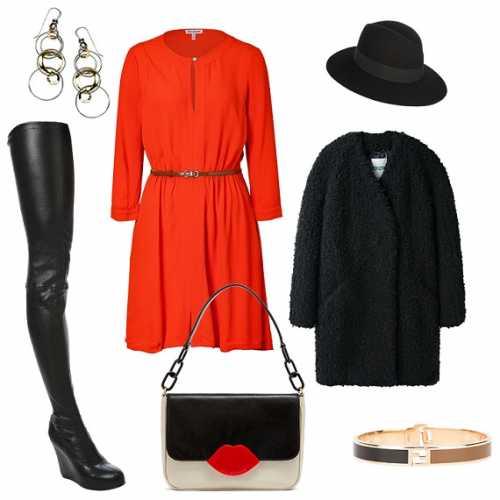 красное платье зимой