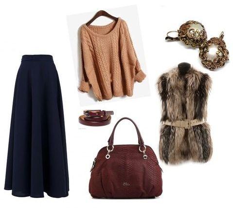 теплая юбка макси