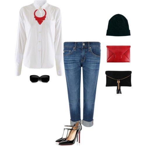 джинсы с белой рубашкой