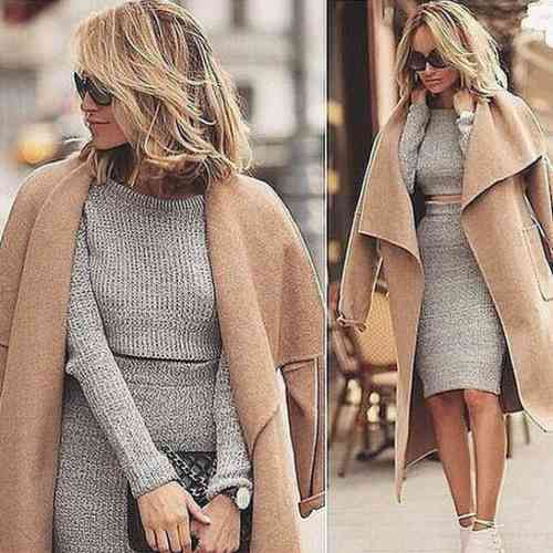 песочное пальто и платье