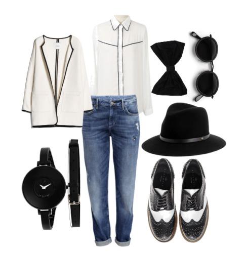 шляпа с рубашкой и джинсами